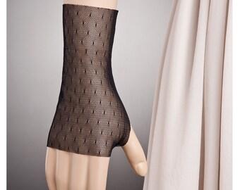 POLKA DOTS BLACK Simple Fingerless Gloves, Black Lace Gloves, Short Black Gloves, Short Lace Gloves, Lace Short Gloves Sheer Gloves