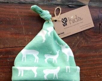 Organic Baby Beanie, Rustic, Elk, Deer, Toddler, Hat, Boys, Mint, Girls, Nature, Wildlife, Newborn, Gift