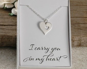 I carry you in my heart, memorial for dad, mom, sister, brother, aunt, uncle, baby, miscarriage, infant loss, sterling silver necklace