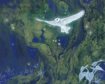 """Limited Edition Giclee print """"Spirit Portal"""" 11""""x14"""" fine art print fantasy owl nature surreal watercolor forest"""