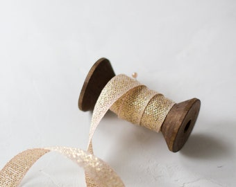 """Gold Metallic + Blush Loose Weave Cotton Ribbon (with Wooden Spool) - 5 yards - 1/2"""" wide"""