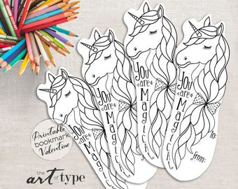 Unicorn St. Patricks Day Printable Coloring Page Bookmark INSTANT DOWNLOAD Non Candy Valentine Book Mark Unicorn St Pattys Party Favor