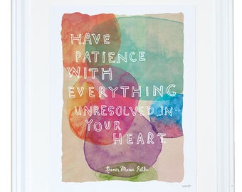 Rilke Quote, Watercolor Art Print, Childrens Wall Decor, Inspirational Wall Art, Meera Lee Patel