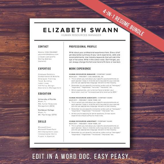 resume template word free cover letter cv template teacher modern professional resume template design diy template instant download
