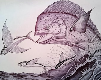 This original pen drawing entitled Dolphin & flying fish measure 9 x 12 inches
