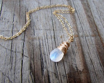 Rainbow Moonstone necklace, gold, wire wrapped, moonstone pendant