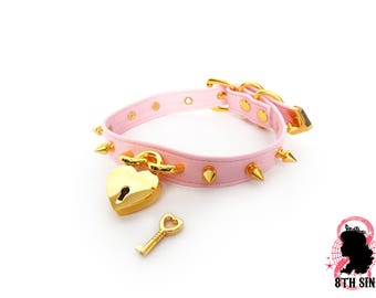 Pink and Gold Studded Heart Padlock Choker with Key, Pink Heart Lock Choker, Pink Heart Padlock Choker, Gold Heart Padlock Choker