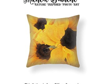 Sunflower photo pillow, Sunflower Blooms Photo Pillow Cover, Blooming Yellow Sunflowers Throw Pillow,  Sunflower Floral Image Pillow Case