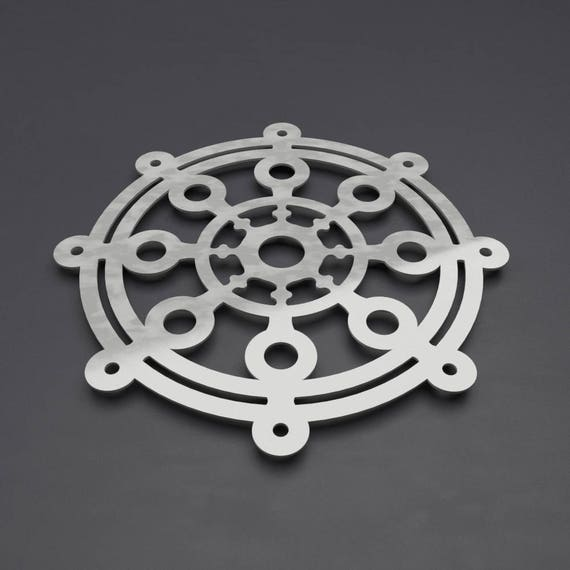 Modern Dharma Wheel Metal Wall Art Sculpture Buddhist Decor