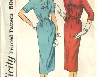 Vintage 50s Sewing Pattern, Simplicity 2265, Sheath Dress, half-Sz. 16 1/2