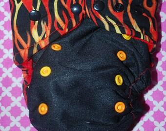 OS Pocket Flames Diaper / Cloth Diaper / Cloth Nappy