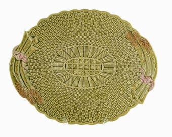 Vintage Bordallo Pinheiro Majolica Platter with Basket Weave / Asparagus Motif and Scalloped Edge