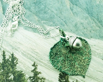Colorado Aspen Leaf Pendant,Emerald Green Patina with Silver Acorn charm, choice of chains, initial