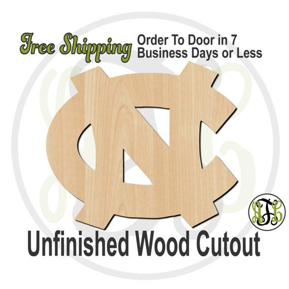 Interlocking N and C - 60181- University Cutout, unfinished, wood cutout, wood craft, laser cut shape, wood cut out, Door Hanger, wooden