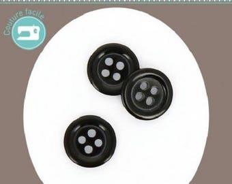 Round button 4 plain black 12 mm diameter holes