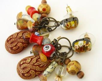 Art Glass Post Earrings with Ceramic Wood Beads, Boho Dangle Earrings for Work or Play