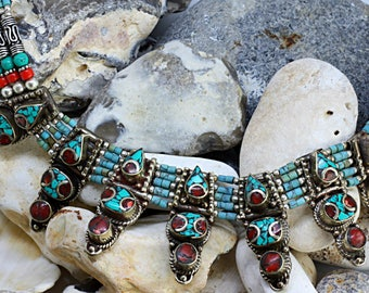 boho necklace, statement necklace,handmade necklace, rustic necklace, ethnic jewellery, blue necklace, stone necklace, gift for her