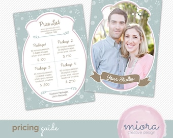 Price List - Pricing Guide Photoshop Template for Photographers - INSTANT DOWNLOAD - PG005