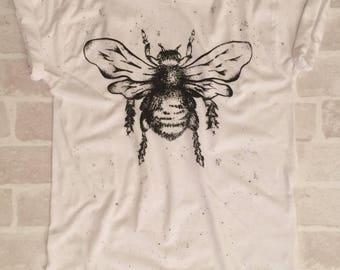 White Adult Bee Tee - Screen Printed