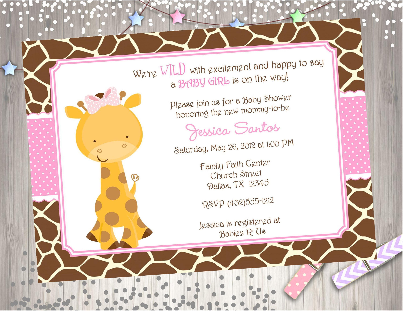Girl Giraffe Baby Shower Invitation invite Baby Sprinkle Pink