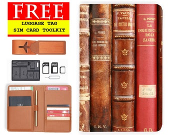 passport cover RFID blocking classic leather travel wallet vintage book