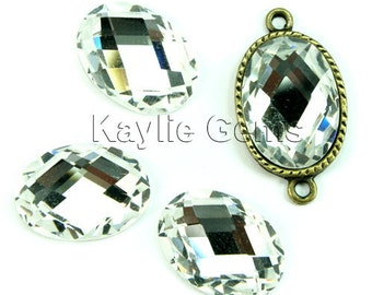 Mirror Glass Cabochon cab 18x13 Oval Checker Cut Faceted Dome -Crystal Clear- 4pcs
