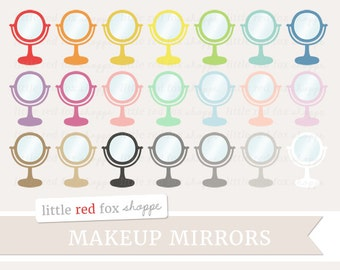 Makeup Mirror Clipart, Vanity Mirror Clip Art Bathroom Cosmetic Beauty Glass Hair Salon Cute Digital Graphic Design Small Commercial Use