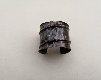 Wide copper foldformed cuff bracelet, Fold formed copper cuff