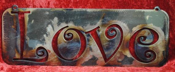 Love cut in, Metal Words, Metal Signs, Insperational Words, Home Decor, Office Decor, Love Sign, Metal Wall Expressions, Metal Wall Sayings
