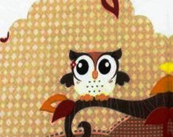 PRETTY OWL 1 X 4 pattern lunch size paper towel 462 b.