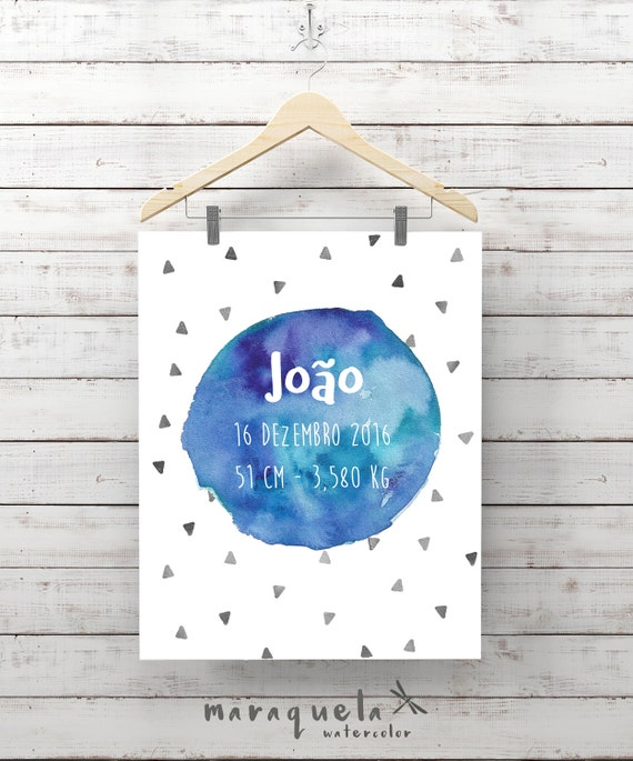 CUSTOMIZED BLUE watercolor for newborn with personalized name, date, weight, triangles, custom new born gift, baby shower, nursery boy room