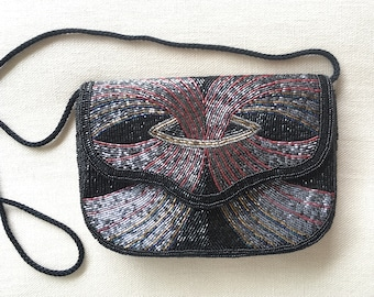 Black Beaded Evening Bag Purse Vintage 50s Disco Glamour Holiday