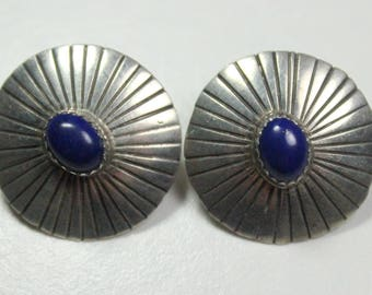 Vintage Sterling Silver Lapis Lazuli Concho Style Pierced Post Disc Native American Earrings