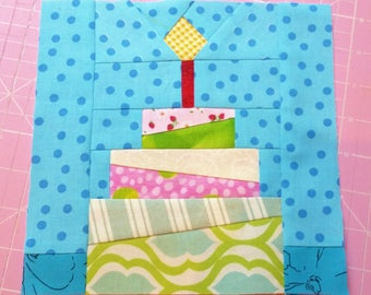 Birthday Cake quilt block pattern PDF instant download modern patchwork candle cute mini scrappy kids anniversary paper pieced advanced