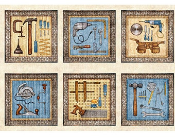 "Craftsman, Tools, Handyman - Dan Morris for Quilting Treasures - Panel 44""x24"" Horizontal 26085 Natural"
