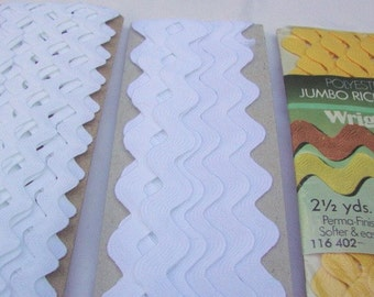 RIC RAC TRIM  --three types--  narrow white, wide white, wide yellow (nearly 13 yards total)
