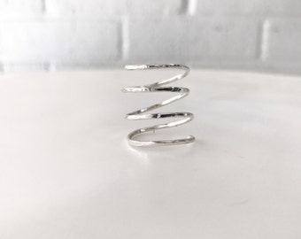 Tiny Twist Ring - Spiral Hammered Ring - Gold Wrap Ring - Wrap Around Silver Ring - Wrapped Sterling Silver Ring - Everyday Ring
