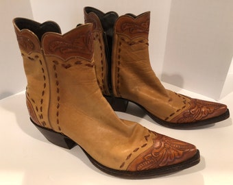WOMEN'S COWBOY BOOTS. genuine stalion tanand brown tooled and stitched leather boots. over the ankle zipper boot.