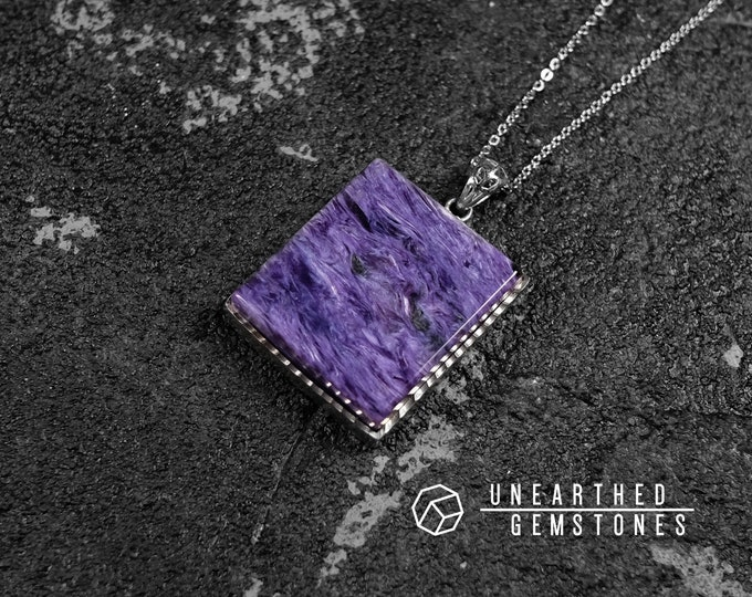 Rectangle Charoite Necklace