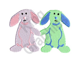 Bunnies Holding Hands - Machine Embroidery Design, Bunnies, Rabbits