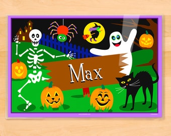 Olive Kids Personalized Halloween Placemat, Kids Placemat, Ghostly Placemat, Holiday Placemat, Laminated Placemat