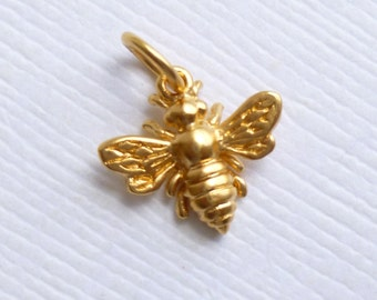 Small Gold Plated Sterling Silver Honey Bee Charm -- 1 Piece