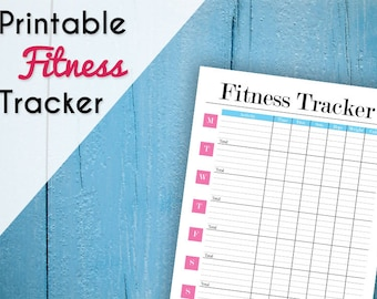 Printable Weekly Fitness Tracker - Fitness Journal - Exercise Log - 2018 Fitness Planner - Workout Planner - A4, A5 & 8.5 x 11 - Pink, Blue