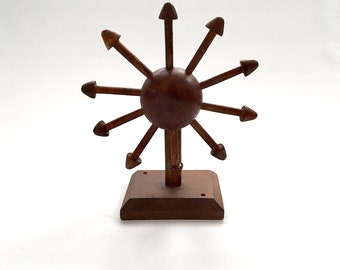 Rustic Folk Art Handmade Wooden Whirly-gig Kinetic Sunburst, Desktop Ornamental Art Object