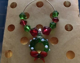 Christmas Wreath Wine Glass Charm