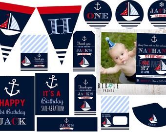 NAUTICAL BIRTHDAY INVITATION - Nautical first birthday invitation - Nautical birthday printables Nautical birthday party Boat Ocean Summer