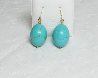 Turquoise Earrings Teal Blue Green Large Oval Beads