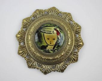 Vintage Gerte Hacker Enamel on Copper Portrait - Mid Century Modern Artist Signed Piece