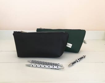 Faux leather pencil case / vegan zipper pouch / vegan pencil case / black pencil case / green pencil case / large pencil pouch