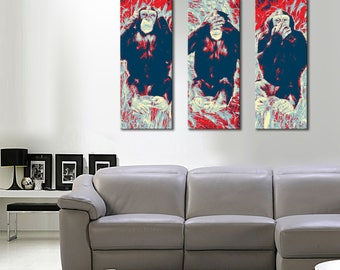 The paintings on canvas pop-art panoramic wise monkeys